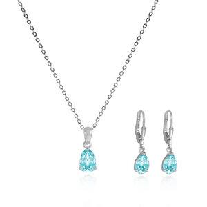 Silberschmuck-Set Aquamarin-Farbe Kristall-Ohrringe und Halskette - JuliaPilot
