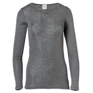Langarmshirt Wolle/Seide - anthrazit gestreift - People Wear Organic
