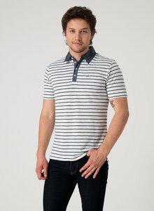 Gestreiftes Poloshirt mit Knopfleiste - ORGANICATION