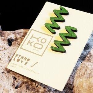 Ohrringe Ethno Love Zigzag Green - KOKOworld