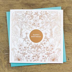 Grußkarte Happy Birthday - Bow & Hummingbird
