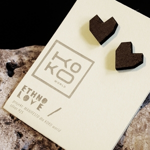 Ohrringe Ethno Love Hearts Black - KOKOworld