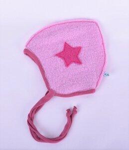rosa gefütterte Sternen-Babymütze zum Binden - Süßstoff