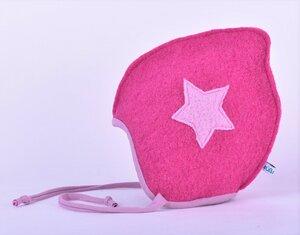 pinke gefütterte Babymütze zum Binden mit kleinem Stern - Süßstoff